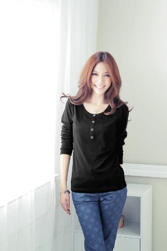 Nueva moda mujeres camiseta de manga larga O cuello botón decoración Casual Tops negro