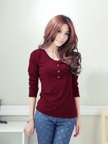 Nueva moda mujeres camiseta de manga larga O cuello botón decoración Casual Tops Borgoña