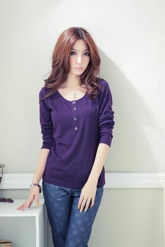 Nueva moda mujeres camiseta de manga larga O cuello botón decoración Tops Casual púrpura