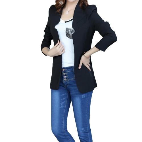 Neue Mode Frauen Blazer vorne offen gekerbten Kragen Langarm Slim kleine Anzug Jacke Oberbekleidung schwarz
