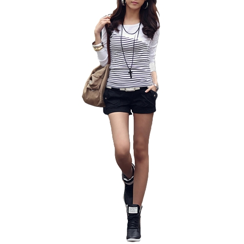 Moda mujer delgada camiseta a rayas de cuello redondo manga larga blusa Tops blanco