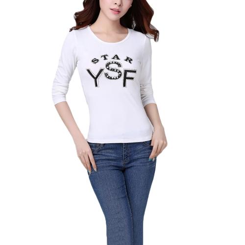 新しい韓国の女性 t シャツ文字プリント ビーズ O ネック長袖スリムなカジュアルなトップス ホワイト