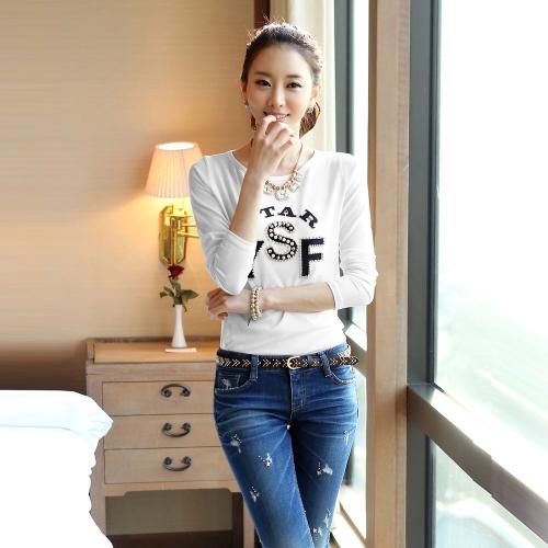 Nuevas mujeres coreanas carta impresión abalorios manga larga O cuello Tops Casual Slim remera