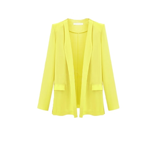 Casual Long Sleeve Thin Solid Color Lapel Blazer for Women