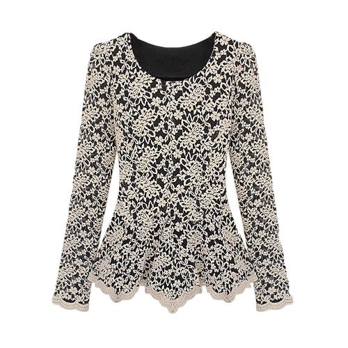 As mulheres elegantes do laço blusa manga longa Peplum camisa básica Slim Tops bege