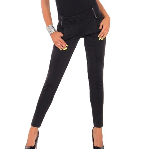 Heiße Frauen Stretch Hose Reißverschluss Dekoration Skinny Slim Bleistift Hose Leggings schwarz