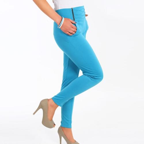 Mujeres calientes del estiramiento pantalones cremallera decoración lápiz Delgado Delgado pantalones polainas azul