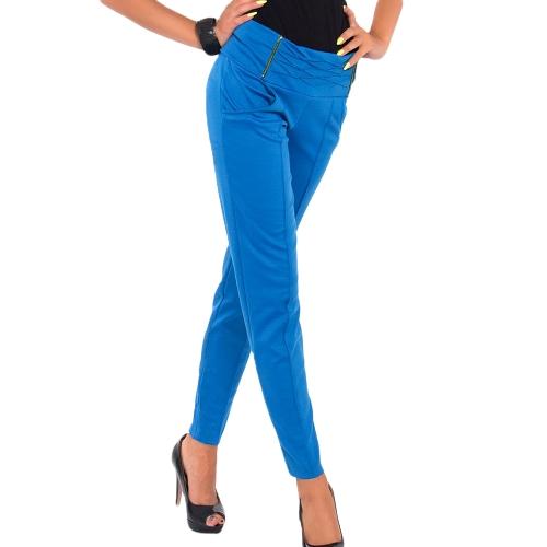 Mujeres calientes del estiramiento pantalones cremallera decoración lápiz Delgado Delgado pantalones polainas azul real