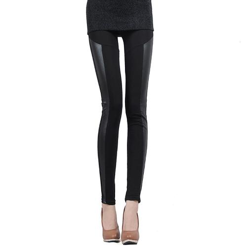 Mujeres coreanas Sexy Leggings PU cuero Patchwork elástico Cintura elástica pantalones medias una raya