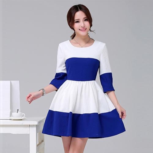 Moda mulheres vestido doce cor bloco Patchwork manga 3/4 elegante vestido azul