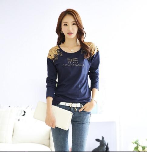 Moda mujer camiseta impresión hombro caliente perforación larga cuello redondo mangas Tops Casual azul oscuro