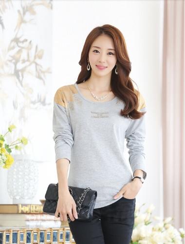 Moda mujer camiseta impresión hombro caliente perforación larga cuello redondo mangas Tops Casual gris