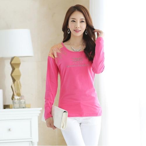 Moda mujer camiseta impresión hombro caliente perforación larga cuello redondo mangas Tops Casual rosa