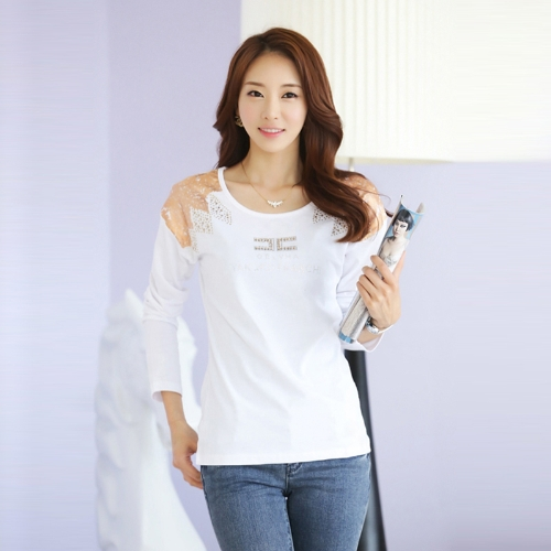 Moda mujer camiseta impresión hombro caliente perforación larga cuello redondo mangas Tops Casual blanco