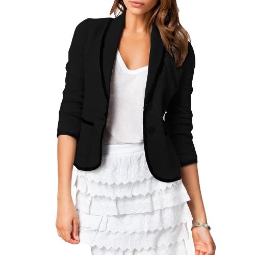 Novas mulheres elegantes senhoras terno Casual manga longa botão jaqueta curta Blazer Slim casaco preto