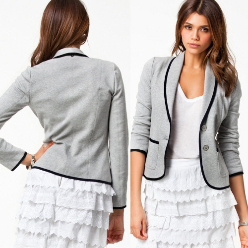 New Stylish Women Ladies Casual Suit Long Sleeve Button Jacket Short Slim Blazer Coat Grey