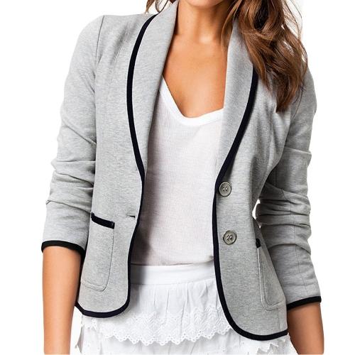 Nueva mujeres elegantes señoras traje Casual manga larga botón chaqueta corta chaqueta delgada capa gris