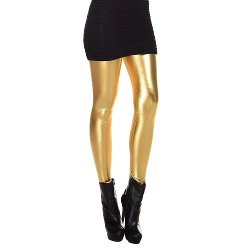 New Fashion Women Leggings Shiny Metallic Color Elastic Waist Skinny Sexy Pencil Pants Trousers