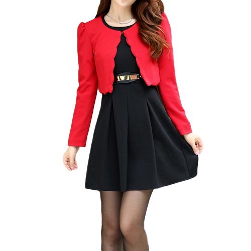 Nowi Moda Damska Dwuczęściowa Sukienka Kamizelka i krótka żakietka Plisowana mini sukienka A-Line czarna sukienka i czerwona kurtka