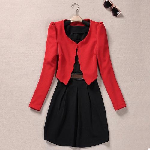 TOMTOP / Nova moda mulheres duas peças colete vestido e casaco plissada-line Mini vestido Twin moda preto vestido curto e casaco vermelho
