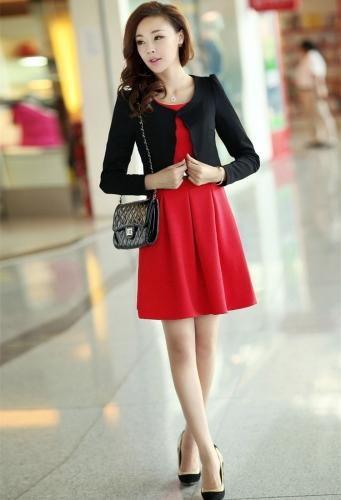 TOMTOP / Nova moda mulheres duas peças colete vestido e casaco plissada-line Mini vestido Twin moda vermelho vestido curto e casaco preto