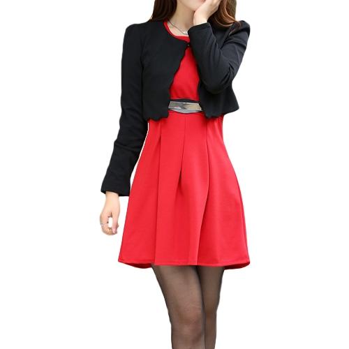 Nueva moda mujer dos piezas Vestido de chaleco y corta capa plisada Mini vestido Twin Sets rojo vestido y abrigo negro