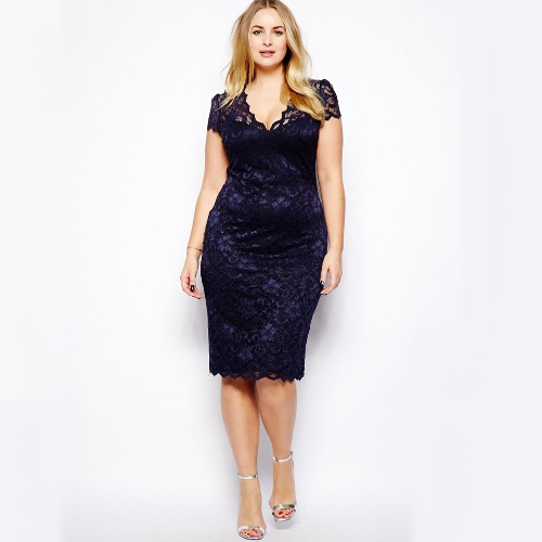 New Fashion Women Midi Dress V-Neck Floral Lace Plus Size Bodycon Pencil Dress Dark Blue