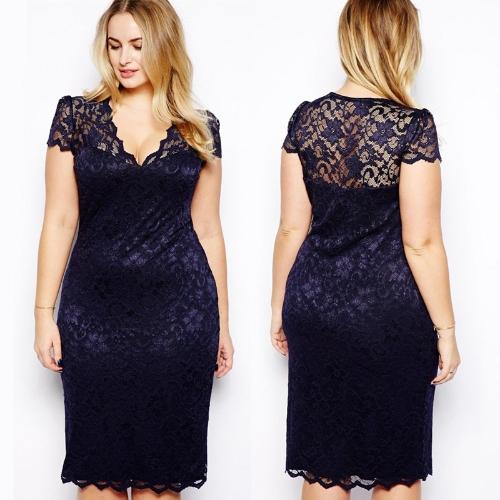 Tomtop coupon: New Fashion Women Midi Dress V-Neck Floral Lace Plus Size Bodycon Pencil Dress Dark Blue