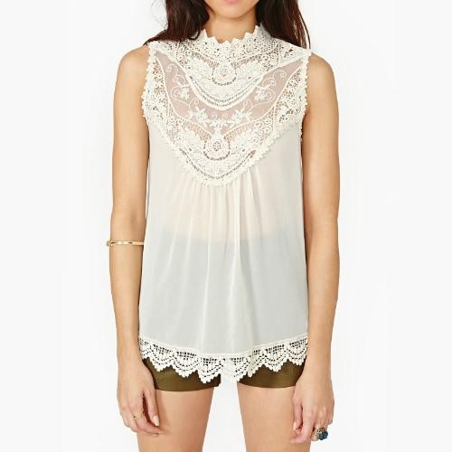 Sexy Women's Lace Hollow Out Celeb Beach White Shift Chiffon Dress