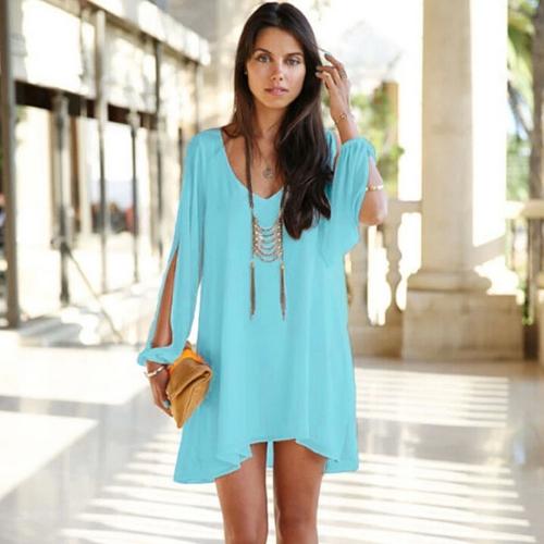 Mujeres de moda vestido de Gasa Color caramelo profundo escote en v Split mangas dobladillo Irregular suelto Casual Mini vestido azul claro