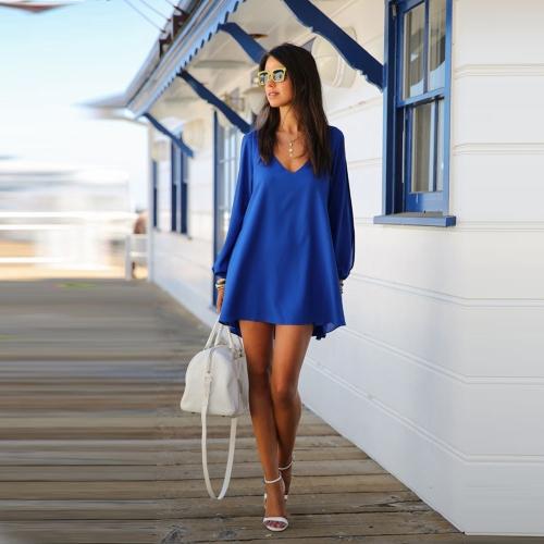 Fashion Women Chiffon Dress Candy Color Deep V-Neck Split Sleeves Irregular Hem Casual Loose Mini Dress Royal Blue