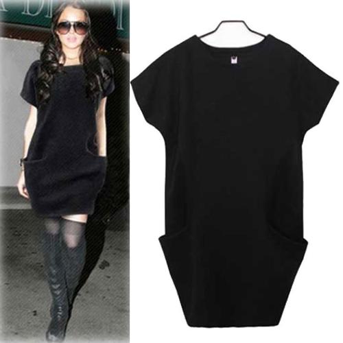 新しいヨーロッパ女性普段着サイド ポケット O ネック半袖緩いドレス黒