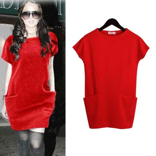 Nueva Europa mujeres vestido ocasional lateral bolsillos manga corta cuello O vestido suelto rojo
