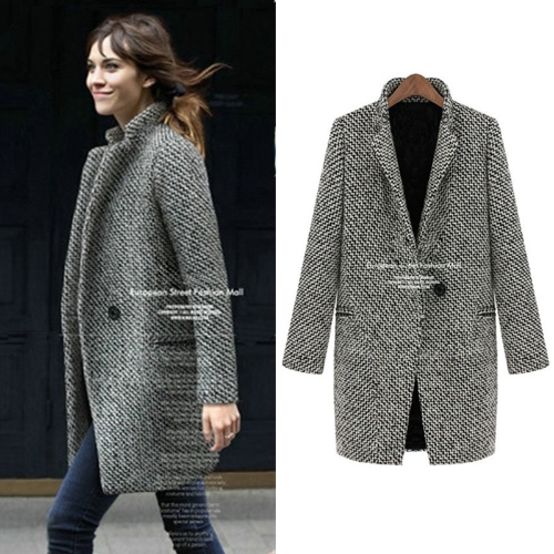 Nova moda mulheres casaco entalhado colar um botão médio Outerwear longo casaco quente casaco preto