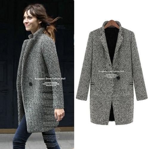 Nueva moda mujer gabardina con muescas cuello un botón mediano abrigos largo abrigo chaqueta negro