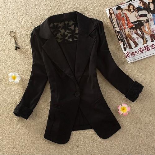 Nueva moda mujer delgada chaqueta Color caramelo manga 3/4 un botón encaje abrigo abrigos negro