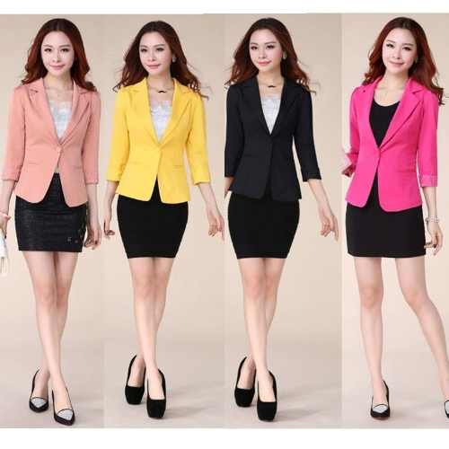 New Vogue Women Slim Blazer Candy Color 3/4 Sleeve One Button Lace Coat Outerwear Pink