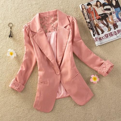 Nueva moda mujer delgada chaqueta Color caramelo manga 3/4 un botón encaje abrigo abrigos rosa