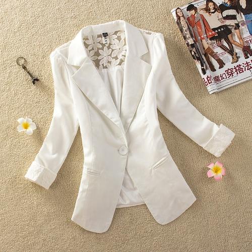 Nueva moda mujer delgada chaqueta Color caramelo manga 3/4 un botón encaje abrigo abrigos blanco