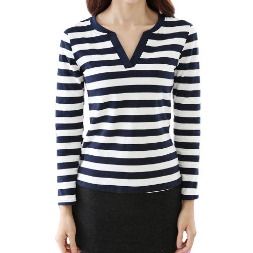 Nueva moda mujeres camiseta ocasional raya V manga larga cuello delgado tapas azul oscuro