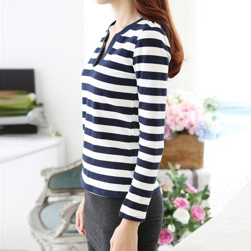 TOMTOP / Nova moda mulheres Casual camiseta listra manga longa V pescoço magro Tops azul escuro