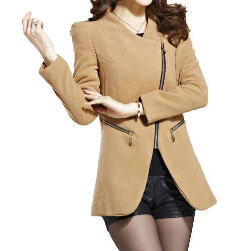 Nueva moda mujer abrigo bolsillos cremallera piel sintética Collar cálido abrigo largo delgado abrigos caqui