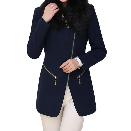 Новые женской моды пальто молнии карманов искусственный мех воротник теплый тонкий длинные пальто пуховики темно синий