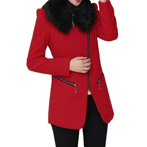 Nueva moda mujer abrigo bolsillos cremallera piel sintética cuello cálido abrigo largo delgado Abrigos Red