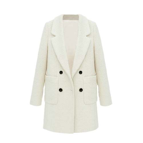 Celebrity Style New Women Coat Notched Collar Double Breasted Medium Long Slim Outerwear Beige
