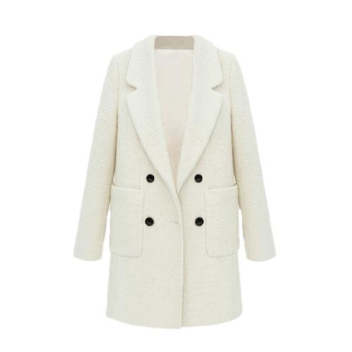 Promi-Style neue Frauen Mantel gekerbten Kragen doppelt-Breasted mittlere lange schlanke Oberbekleidung Beige