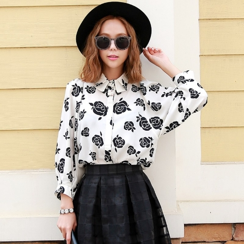 Fashion Women Floral Shirt 3/4 Batwing Sleeves Turn-down Collar Loose Button Blouse Tops White