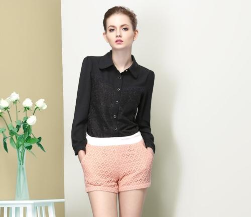 Mode OL Damen Shirt floraler Spitze Turn-Down-Kragen langarm Button Bluse schlanke Spitze schwarz