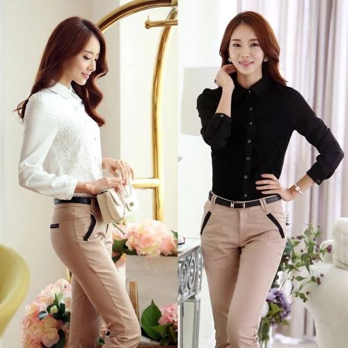 Fashion Ol Women Shirt Floral Lace Turn Down Collar Long Sleeves Button Blouse Slim Tops Black