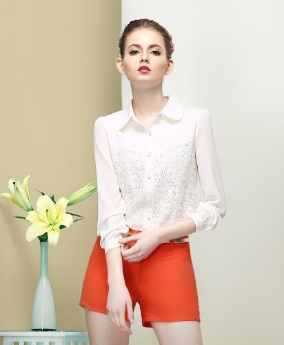 Top moda OL donne camicia pizzo floreale girare giù il collare maniche lunghe pulsante camicetta sottile bianco